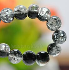 Wholesale 80pcs Black Crystal Crack Glass Round Loose Spacer Beads 8mm