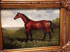 Country French Framed Oil Painting-Horse In Countryside