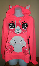 Women's Cute Hot Pink Coral Cat Hoodie Sweater With Tail And Ears Large NWT