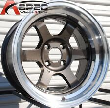15X7 ROTA GRID-V WHEELS 4X100 GUN METAL RIMS ET20MM FITS E30 JETTA GOLF PASSAT