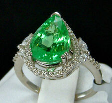 4.67tcw Mozambique Paraiba Tourmaline with Diamonds Solid Platinum Ring, Size 7
