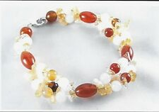 Natural Citrine, Quartz, Carnelian Bracelet 925 Sterling Silver 8 Inch List $120