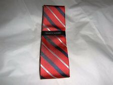 TOMMY HILFIGER Neck Tie Classic Style Red Grey Striped Print NWT