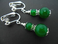A PAIR OF GREEN JADE SILVER  PLATED DROP DANGLY CLIP ON  EARRINGS. NEW.