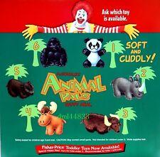 1997 McDonalds Animal Pals MIP Complete Set - Lot of 6, Boys & Girls, 3+