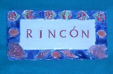*HAND MADE *RINCON *PUERTO RICAN POTTERY PLAQUE *TROPICAL FISH 3-D SHELLS *SIGN