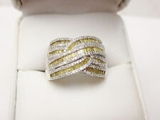Wide 1 Carat White Round Yellow Baguette Cocktail Statement Ring Silver Sz 7