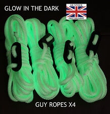 GLOW IN THE DARK - Guy Line Ropes x4 PACK Tent Camping Festival greeny yellow