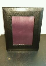 """ASPINAL OF LONDON 4'' x 6"""" Black  Leather Photo Frame Lizard"""
