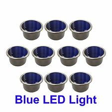 10 NEW STAINLESS STEEL CUP DRINK HOLDER W BLUE LED LIGHT MARINE BOAT RV CAMPER