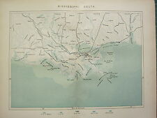 c1890 ANTIQUE MAP ~ MISSISSIPPI DELTA ~ RAILWAYS NEW ORLEANS SEA DEPTHS SOUNDS