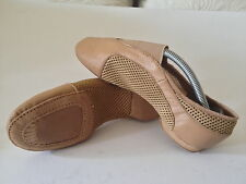 NEW Central Elastic Mesh/Leather Tan Jazz Dance Shoes Size Child 2 AU