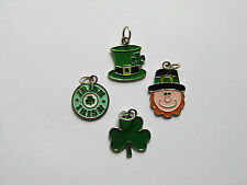 36 Enamel ST. PATRICKS DAY CHARMS clover irish hat + FREE SHIP bulk wholesale