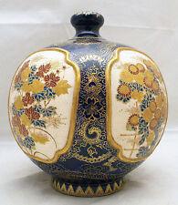 Rare Japanese early Meiji gosu-blue and cobalt-blue Satsuma Vase, signed