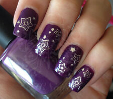 NAIL ART SILVER STARS WATER DECALS TRANSFERS DECORACION DE UÑAS CALCOMANIAS