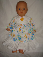 "Handmade White Yellow Blue Flower Dress. Fit Baby Born/Annabell16/18"" Doll"