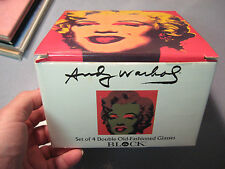 Vintage Marilyn Monroe Set Of 4 Andy Warhol Old Fashioned Glasses Factory Box