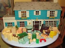 Vintage MARX Metal 2 Story Doll House with LOTS of Furniture and Accessories