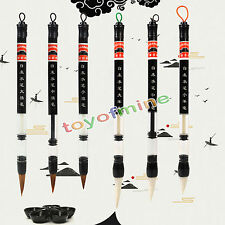 6pcs cinese Pistone pennello Acqua Calligrafia Weasel Pen Capelli + Wool Pen