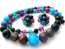 Purple & Blue Kramer Bead Necklace Earrings Signed Vintage Demi Set Jewelry