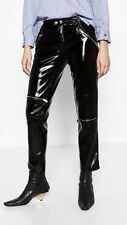 Zara Patent Leather Finish Biker Trousers With Zips Size S Uk 8/10 Genuine Zara