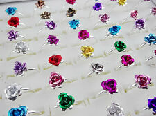 Wholesale Lots Job 50Pcs Colorful Flower Rose Drop Oil Ring Wedding Party Gifts
