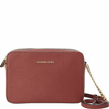 MICHAEL MICHAEL KORS JET SET TRAVEL LARGE EW BRICK Leather Crossbody Bag