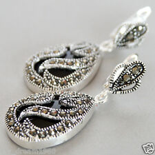 Marcasite 925 Sterling Silver Black Agate Drop Dangle Hook Leverback Earrings