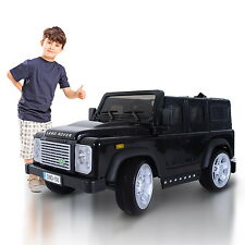12V Land Rover Defender Kids Ride On Car Electric Toy Battery Power RC Black