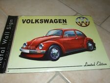 PLAQUE METAL VW COCCINELLE 1200 L Rouge  40*30