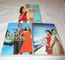 Burn Notice The Complete Seasons 1-3 Dvd Disc Sets Miami Spy TV Show BIN USED