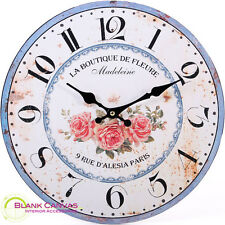 Vintage Shabby Chic Style French La boutique Wall Clock - NEW