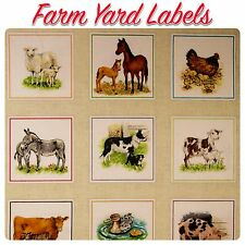 Makower Farm Yard Animals 1485 Patchwork Fabric Labels Square (Sold per 3 Lines)
