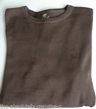 TIMBERLAND COTTON KNIT Brown Crew Neck Sweater Jumper Top M BNWT