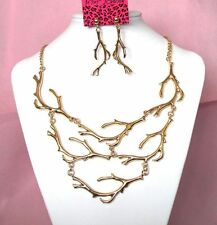 Betsey Johnson Fashion style coral branch collocation Necklace earrings set#773T