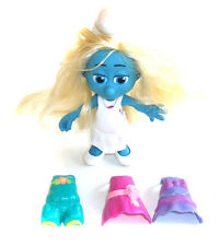 """SMURFS THE MOVIE  8"""" Tall Smurfette poesable toy figure w/extra clip on outfits"""