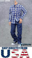 "1/6 Men Blue Plaid Long Sleeves Shirt Jeans Set For 12"" Hot Toys - U.S.A. SELLER"