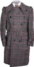 1970s Mens Mod Coat Tweed Trench Style Plaid Wool Size 40 R