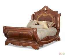 Michael Amini Cortina Traditional Honey Walnut Luxury Queen Sleigh Bed AICO
