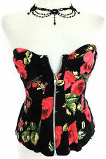 Sexy RED ROSE BUSTIER BASQUE CORSET TOP Seductive SUMMER Burlesque VAMP Hot 6-8