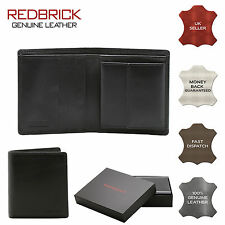REDBRICK LONDON MENS LUXURY GENUINE LEATHER BLACK WALLET CREDIT CARD COIN POCKET