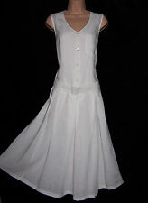 Laura Ashley vintage retro linen viscose blend, belted summer dress, size UK 10