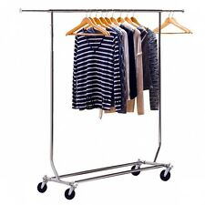 Heavy Duty Steel Commercial Grade 150 lbs. Clothing Rolling Collapsible Rack