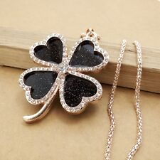 Fashion charm Gold-plated Mosaic crystal Clover chain long necklace XL371