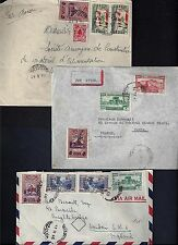 LEBANON 1945 6 THREE MULTIFRANKED AIRMAIL COVERS TO LONDON & PARIS WITH WAR TIME