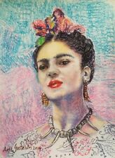 "Amazing Frida Kahlo painting by Mexican artist Amy Gastelum art pastel 16""x12"""