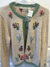 Orvis Sz S Button Up Cotton Floral Sweater Flax Color New With Tags Stunning!!