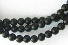 Fil de Perles rondes 4 mm en Agate Noire Dépolie - 38 cm
