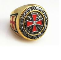 Masonic Freemason Knights Templar Ring College Style GOLD Color Stainles Steel