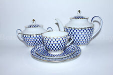 Russian Imperial Lomonosov Porcelain Tea set service Cobalt Net 6/20 person Rare
